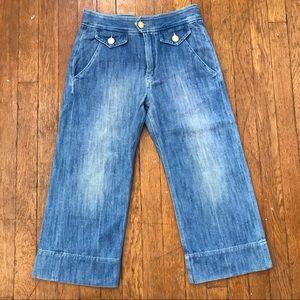 Isabel Marant Denim 70's Crop Wide Leg Blue Jeans